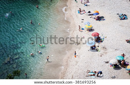 Top view of beach in Thassos island, Greece - stock photo