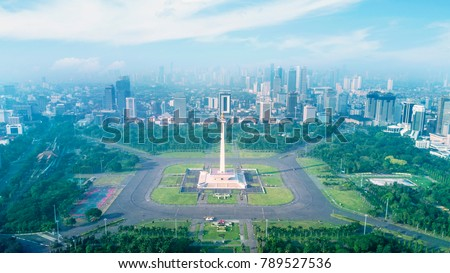 Top view of beautiful National Monument under blue sky at Jakarta, Indonesia
