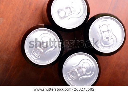 Top view of beer can - stock photo