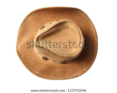 Top view of beige cowboy hat, decorated of coins isolated on a white background - stock photo