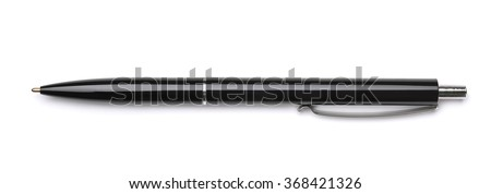 Top view of black ballpoint pen isolated on white - stock photo