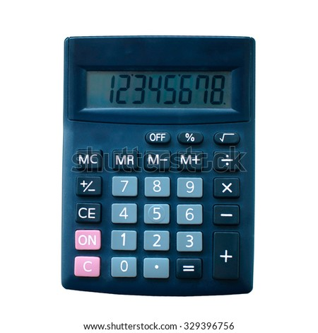 Top View of Black Calculator - stock photo