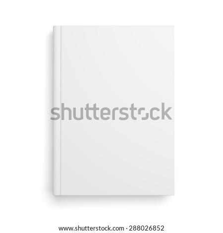 Top view of blank book cover isolated over white background with shadow
