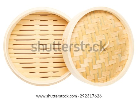 Top view of blank Chinese bamboo steamer with lid isolated on white background - stock photo