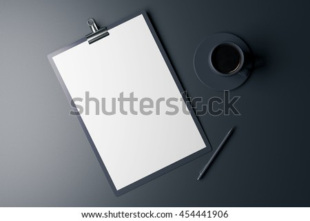 Top view of blank clipboard, pen and coffee cup on dark grey background. Mock up, 3D Rendering - stock photo