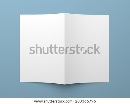 Top view of blank folded flyer, booklet, business card or brochure mockup template on blue background - stock photo