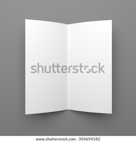Top view of blank folded flyer, booklet or brochure mockup template on grey background