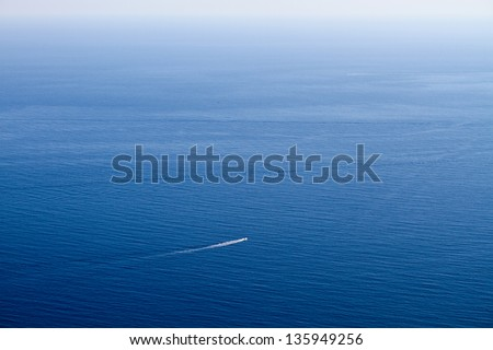 Top view of blue sea - stock photo