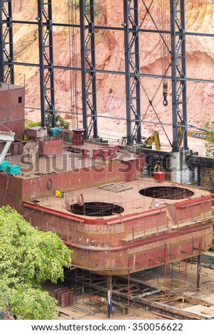 Top view of boat under construction in shipyard in Manaus. Amazon, Brazil 2015 - stock photo