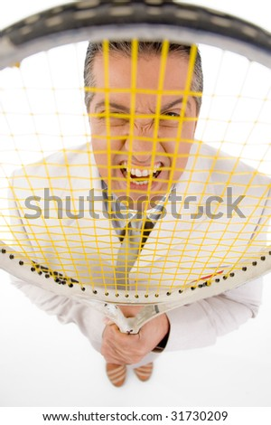 top view of boss holding tennis racket on white background - stock photo