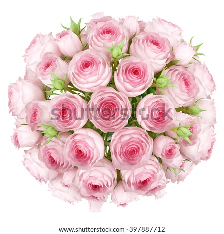 top view of bouquet of pink roses isolated on white background - stock photo