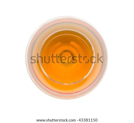 Top view of brandy glass. Isolated.