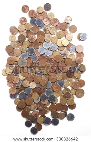 Top view of brazilian coins. - stock photo