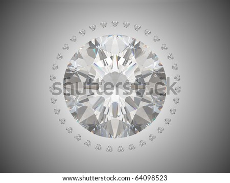 Top view of brilliant cut diamond. Over grey background - stock photo