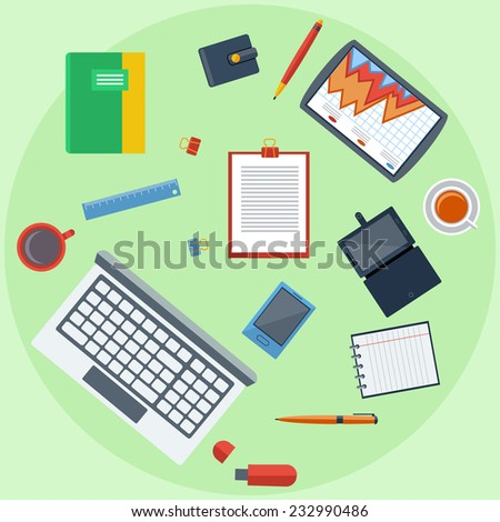 Top view of business people workplace with laptop, digital tablet, smartphone and different office elements on green background. Raster version - stock photo