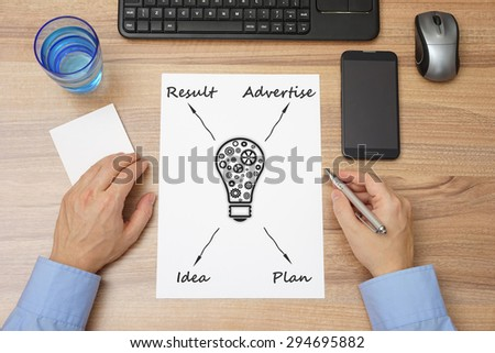 top view of businessman  desk with business plan made  on paper. Concept of start up, creativity,beginnings of entrepreneurship - stock photo