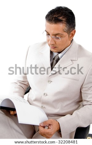 top view of businessman looking in to file with white background - stock photo
