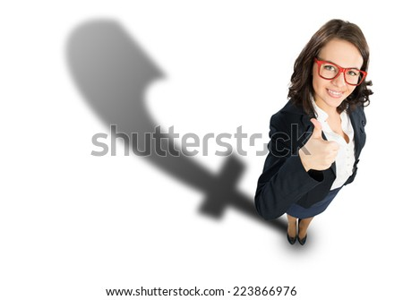 Top view of businesswoman showing thumbs up - stock photo
