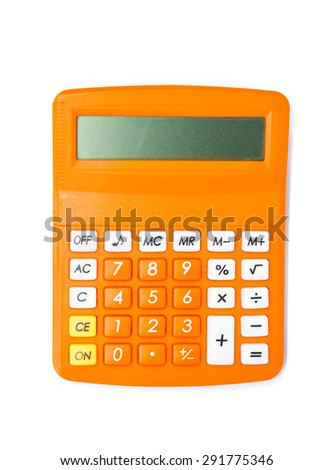 Top view of calculator isolated on white background. - stock photo