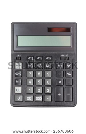 Top view of calculator isolated on white with clipping path - stock photo