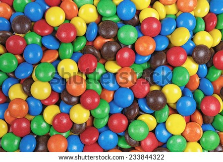 top view of candy chocolate multicolor background - stock photo