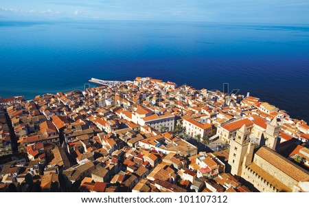 Top view of Cefalu - stock photo