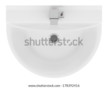 top view of ceramic bathroom sink isolated on white background - stock photo