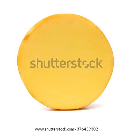 Top view of cheese wheel isolated - stock photo