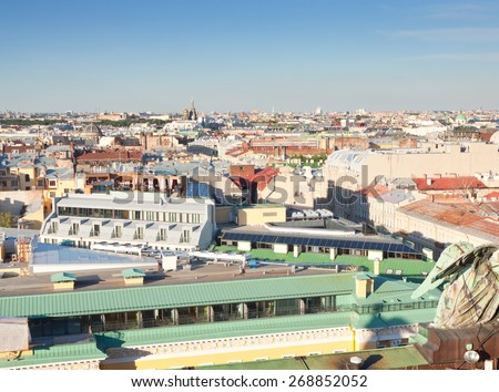Top view of city from Saint Isaac's Cathedral. St. Petersburg, Russia