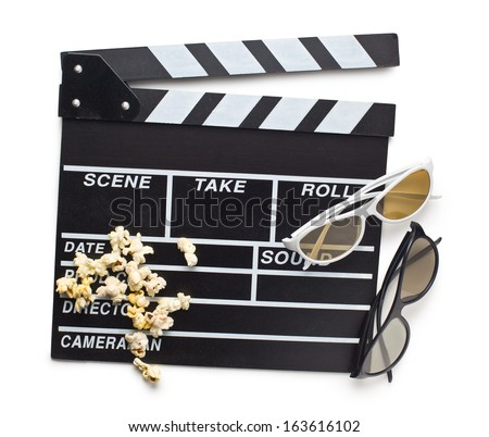top view of clapperboard with 3d glasses and popcorn on white background