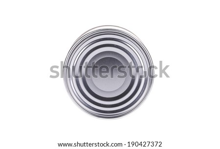 Top view of closed tin can. Isolated on a white background. - stock photo