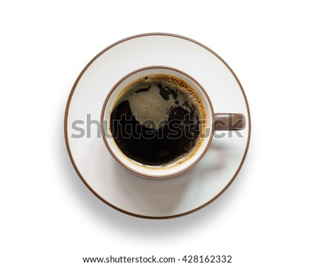 Top view of coffee cup isolated on white background.