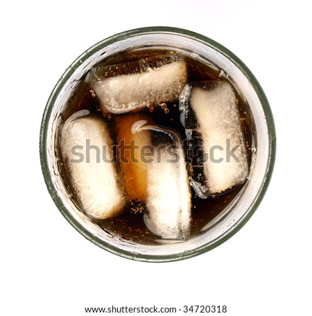Top view of cola in glass isolated on a white background - stock photo