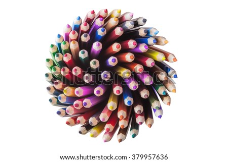 Top view of color pencils isolated on white background - stock photo