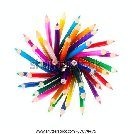 Top view of color pencils pile - stock photo