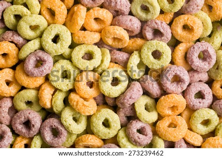 top view of colorful cereal rings - stock photo