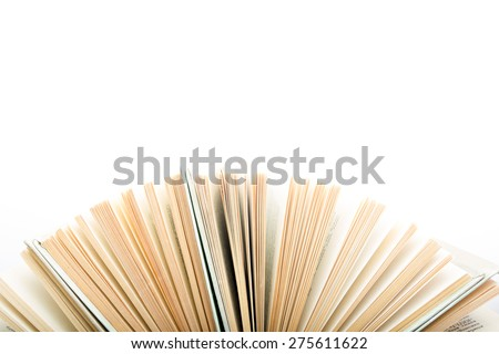 Top view of colorful hardback books in a circle isolated on white background. Open book, fanned pages. Back to school copy space. Education background. - stock photo