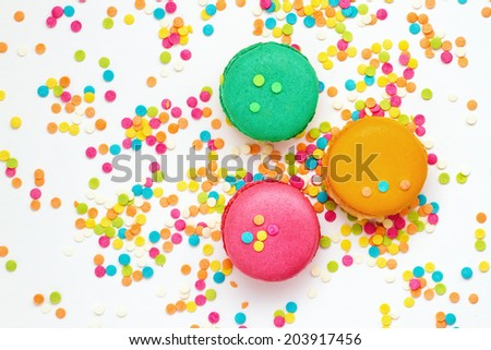 Top view of colorful macaroons - stock photo