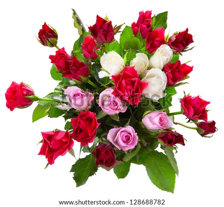 Top view of colorful roses  bouquet isolated on white background - stock photo