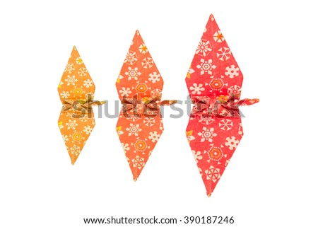 Top view of Colorful traditional Japanese origami cranes, conceptual - stock photo