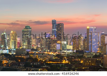 Top view of commercial building in Bangkok skyline  during twilight time