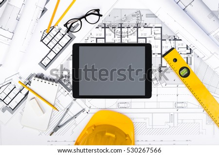 Line art illustration engineering architecture drawing for Architectural engineering concepts