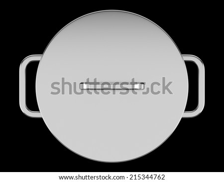 top view of cooking pan isolated on black background - stock photo