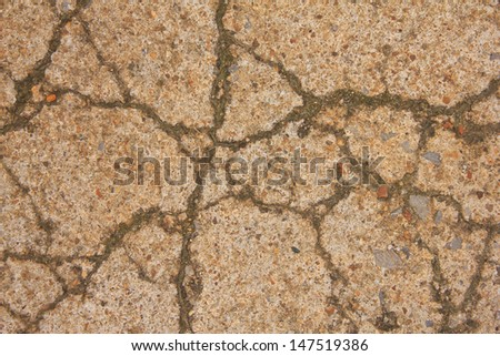 top view of crack on concrete .