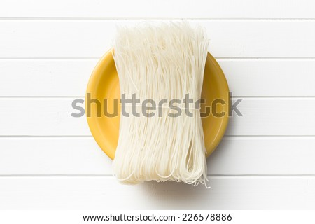 top view of died rice noodles - stock photo