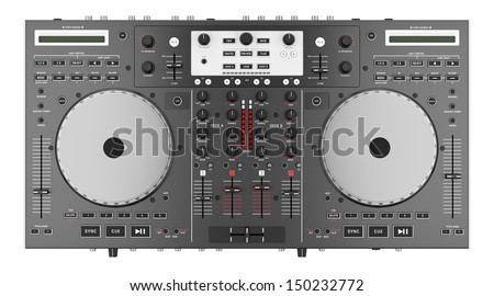 top view of dj mixer controller isolated on white background  - stock photo