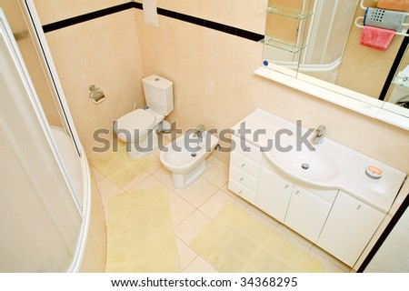 Top view of domestic bathroom