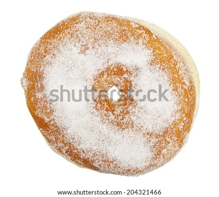 top view of doughnut isolated on white - stock photo