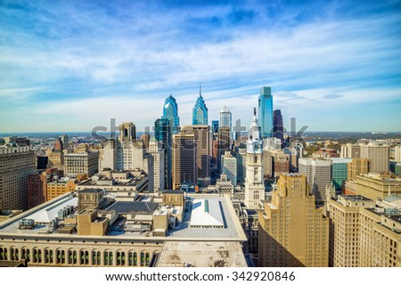 Top view of downtown skyline Philadelphia USA - stock photo