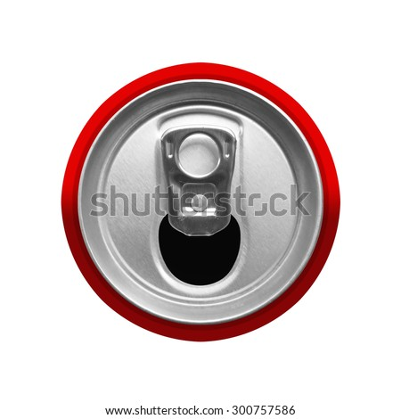 top view of drink can isolated - stock photo